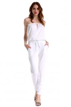 Elegant Mesh Patchwork Waist Tie With Pocket Plain Tube Jumpsuit White