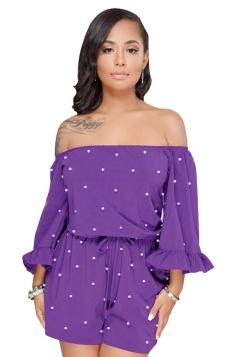 Off Shoulder Ruffle Long Sleeve Pearl Design Loose Linen Romper Purple