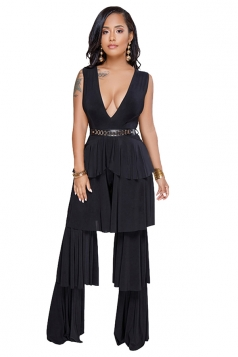 Deep V Neck Sleeveless Ruffle Wide Legs Plain Club Jumpsuit Black