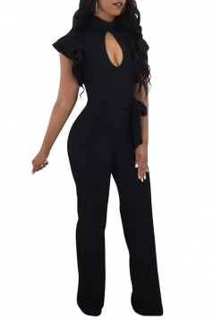 Cut Out Front Ruffle Sleeve Waist Tie Wide Legs Zipper Jumpsuit Black
