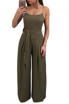 Spaghetti Straps Wide Legs With Waist Belt Slip Jumpsuit Olive Green