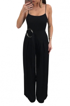 Spaghetti Straps Wide Legs With Waist Belt Plain Slip Jumpsuit Black