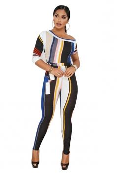 One Shoulder With Waist Belt Ribbed Color Block Stripe Jumpsuit Blue