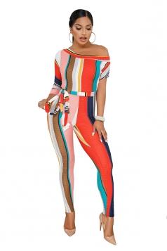 One Shoulder With Waist Belt Ribbed Color Block Stripe Jumpsuit Red