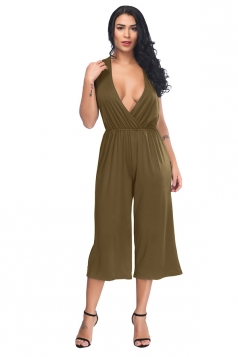 Deep V Sleeveless Back Cut Out Pleated Capri Bottoms Jumpsuit Coffee