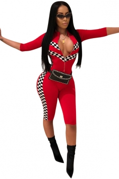 Sexy Half Sleeve Zipper Front Capri Bottoms Racing Jumpsuit Red