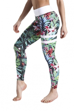 Womens Skinny Elastic High Waisted Leaves Printed Leggings Green