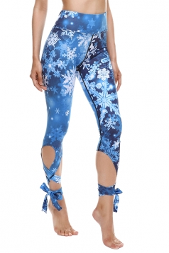 Womens Close-Fitting Ripped Snowflake Printed Tie Leggings Blue