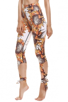 Womens Close-Fitting Ripped Sunflower Printed Tie Leggings Brown