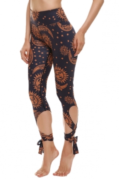 Womens Close-Fitting Ripped Sun Moon Printed Tie Leggings Camel
