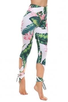 Womens Close-Fitting Ripped Leaves Printed Tie Leggings Dark Green