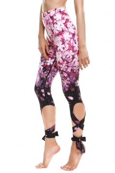 Womens Close-Fitting Ripped Floral Printed Tie Leggings Dark Purple