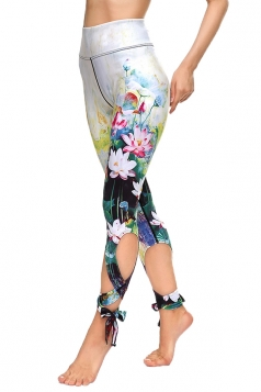 Womens Close-Fitting Ripped Flower Printed Tie Leggings Gray