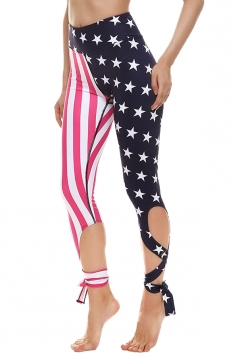 Womens Close-Fitting Stars And Stripes Printed Tie Leggings Rose Red
