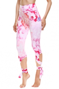 Womens Close-Fitting Ripped Printed Tie Leggings Pink