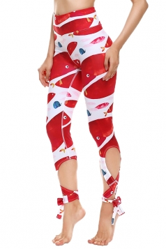 Womens Close-Fitting Ripped High Waisted Fish Printed Tie Leggings Red