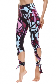 Womens Close-Fitting Ripped Printed Tie Leggings Watermelon Red