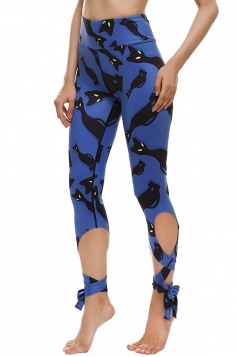 Womens Close-Fitting Ripped Cat Printed Tie Leggings Sapphire Blue