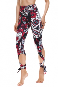 Womens Close-Fitting Ripped Skull Printed Tie Leggings Ruby