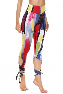 Womens Close-Fitting Ripped Printed Tie Leggings Yellow