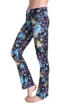 Womens Close-Fitting High Waisted Wide Leg Printed Bell Pants Blue