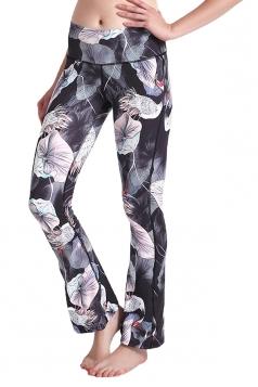 Womens Close-Fitting High Waisted Wide Leg Bell Pants Light Gray
