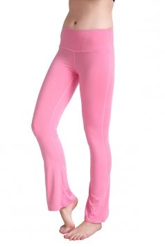 Womens Close-Fitting High Waisted Wide Leg Plain Bell Pants Pink