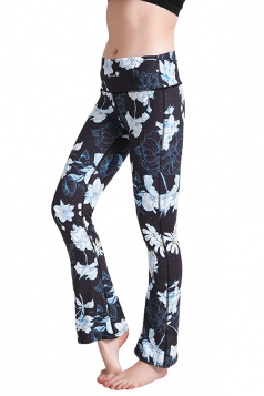 Womens Close-Fitting High Waisted Wide Leg Floral Bell Pants Navy Blue