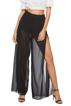 Elastic Waist Wide Legs High Split Chiffon Loose Leisure Pants Black