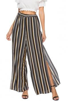 Elastic Waist Wide Legs High Split Stripe Loose Leisure Pants Brown