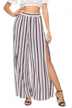 Elastic Waist Wide Legs High Split Stripe Loose Leisure Pants Pink