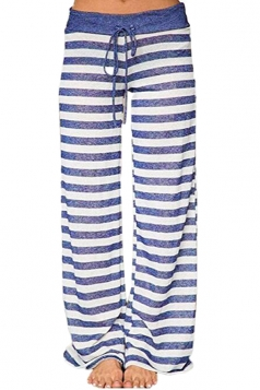 Drawstring Waist Wide Legs Stripe Loose Leisure Pants Light Blue
