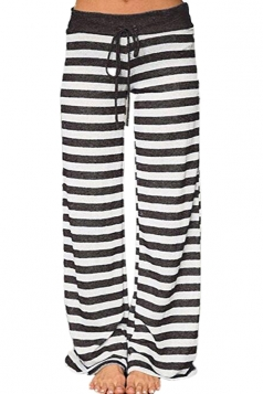 Drawstring Waist Wide Legs Stripe Loose Leisure Pants Light Black
