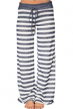 Drawstring Waist Wide Legs Stripe Loose Leisure Pants Dark Grey