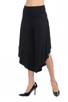 High Waist Wide Legs Asymmetrical Hem Loose Leisure Capri Pants Black