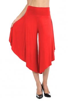 High Waist Wide Legs Asymmetrical Hem Plain Leisure Capri Pants Red