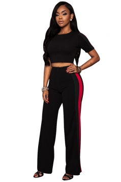 Womens Short Sleeve Crop Top&Striped Pants Leisure Suit Black