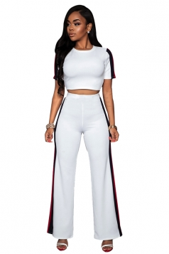 Womens Short Sleeve Crop Top&Striped Pants Leisure Suit White