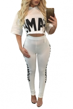 Womens Short Sleeve Hoodie&Graphic Leggings Two Piece Suit White