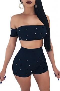 Off Shoulder Crop Top&High Waist Zipper Shorts Bead Design Suit Black
