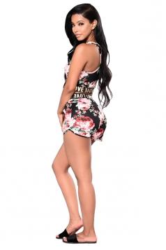 Crop Tank Top&Hot High Waist Shorts Flora Print Sports Suit Black