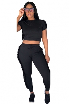 Short Sleeve Crop Top&High Waist Pants Ruffle Hem Plain Suit Black