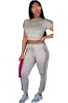 Short Sleeve Crop Top&High Waist Pants Ruffle Hem Plain Suit Gray