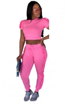 Short Sleeve Crop Top&High Waist Pants Ruffle Hem Plain Suit Pink