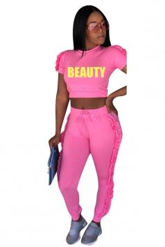 Letter Print Short Sleeve Crop Top&High Waist Pants Sports Suit Pink