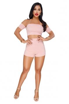 Halter Lace Up Crop Top&High Waist Shorts Zipper Bead Design Suit Pink