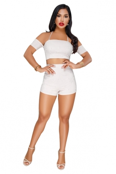 Halter Lace Up Off Shoulder Crop Top&High Waist Shorts Suit White