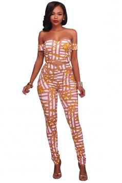 Off Shoulder Crop Top&High Waist Long Pants Zipper Print Suit Pink