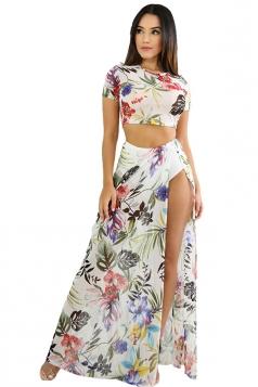 Short Sleeve Crop Top High Waist Split Flora Print Maxi Dress White
