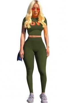Short Sleeve Print Crop Top&High Waist Plain Leggings Suit Olive Green